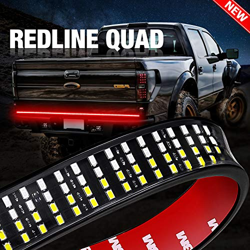 Tailgate Light Bar, DJI 4X4 60'' QUAD Row Truck Bed Light Strip with Red Trun Singal, Brake, Reverse, Double Flash Light, Amber/Red/White for Dodge Ford F150 Chevy Pickup RV VAN- 2 Yr Warranty
