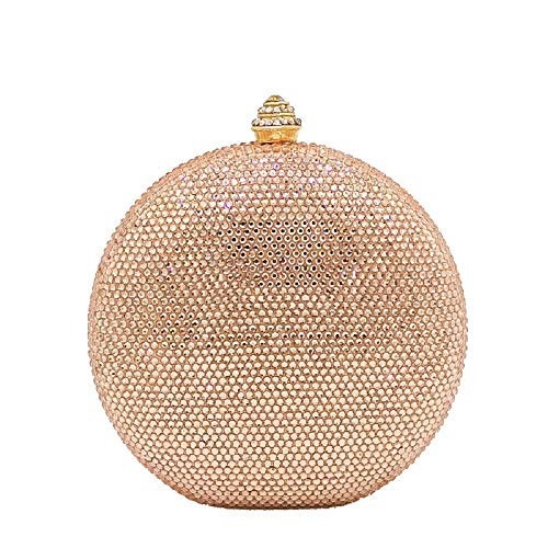 Pink Round Circular Crystal Clutch Evening Bag Mini Metal Minaudiere Clutches Wedding Party ()