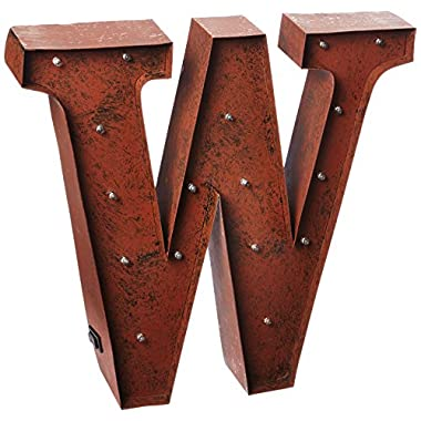 The Gerson Company  W  LED Decorative Lighted Metal Letter with Rustic Brown Finish and Timer Function