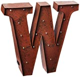 "The Gerson Company ""W LED Decorative Lighted Metal Letter with Rustic Brown Finish and Timer Function"
