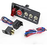 IZTOR 12V LED Ignition Switch Panel Engine Start Push Button Toggle Fit for Racing Car