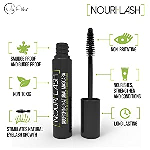 Best Organic Mascara - Black Natural Mascara Ingredients for Longer Lashes - Hypoallergenic Non-Toxic for Sensitive Eyes- Enriched Vitamin E Eyelash Conditioning Formula- Organic Eye Makeup Essential