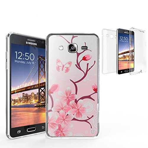 Tri Max for Galaxy On 5 SM-G550T SM-G550 360 Full Body TPU Scratch Resistant PC Transparent Clear Cherry Blossom