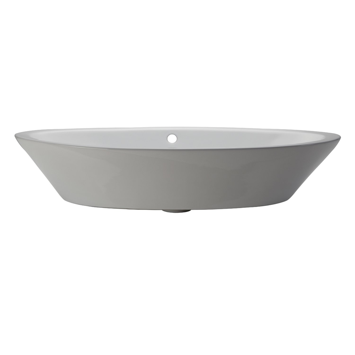 DECOLAV 1463-CWH Shaina Classically Redefined Oval Vitreous China Above-Counter Lavatory Sink, White