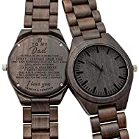 Engraved Wooden Watch for Son and Boyfriend,Personalized Wood Watch Gift for Boyfriend, Graduation Gift from Mom, from Dad (to Dad)