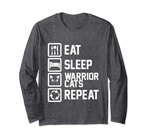Unisex Eat Sleep Warrior Cats Repeat Funny Cat Lover Long Sleeve Medium Dark Heather (Long Funny Sleeve Repeat)