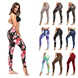 ZOOSIXX High Waisted Leggings for Women – Extra Soft Yoga Pants for Athletic, Workout (One Size, Flowers Allover)