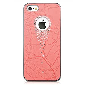 Fashion Elegant Luxury Swarovski Elements Crystal Bling Leather Case for iPhone 5 & New 5S - Pink Color