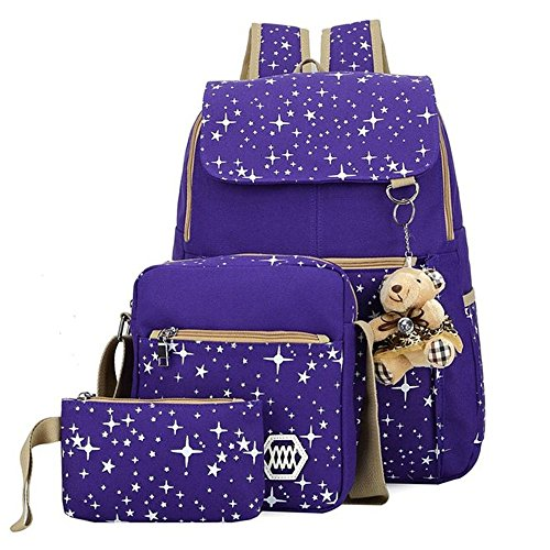 MIUCOO Canvas Backpack Patterned Bookbag
