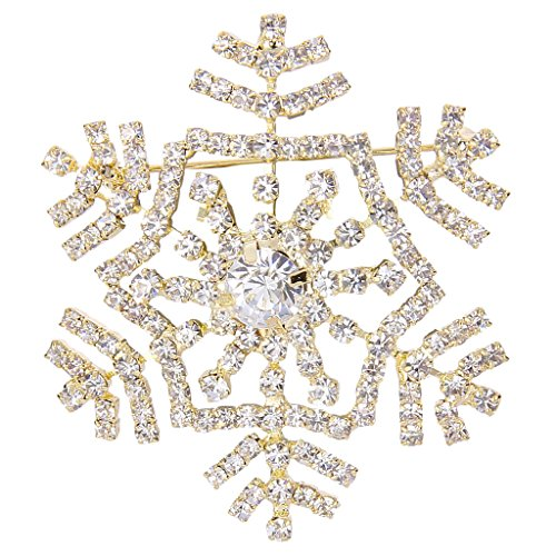 EVER FAITH Women's Austrian Crystal Elegant Winter Snowflake Flower Brooch Pin Clear Gold-Tone ()