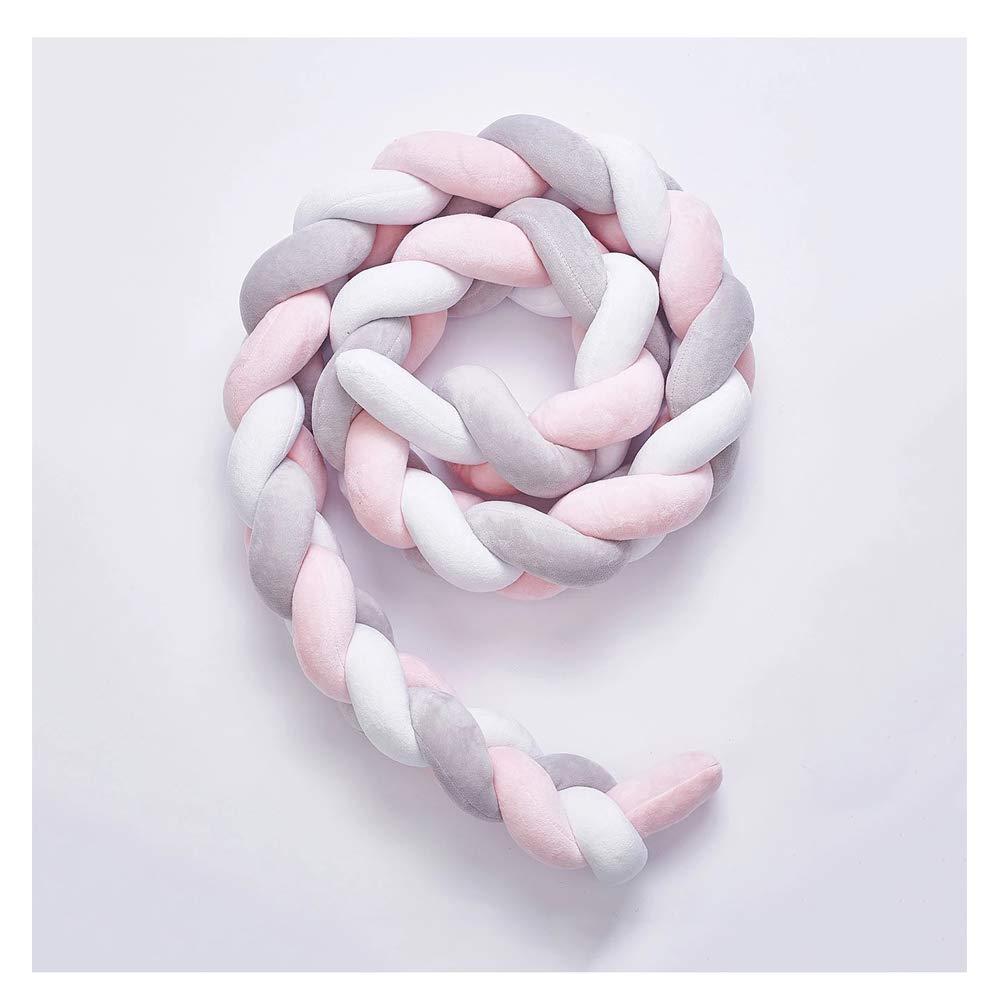 LFEWOX Protector Cuna Bebe 4M Parachoques Cuna Cuna Nudos Trenzados Felpa Vivero Cuna decoraci/ón Ropa de Cama reci/én Nacidos Regalo Protector de Cuna Trenza Pad-White+Gray+Pink