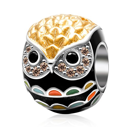 Owl Charm 925 Sterling Silver Animal Charm Bird Charm Lucky Charm Halloween Charm Birthstone Charm for DIY Charms Bracelet