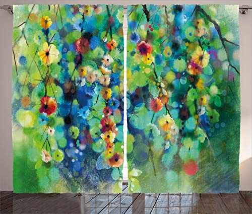 "Ambesonne Flower Curtains, Vibrant Colored Blooms Clusters Down from Branch Spring Season Birth Season Image, Living Room Bedroom Window Drapes 2 Panel Set, 108"" X 90"", Green Blue"
