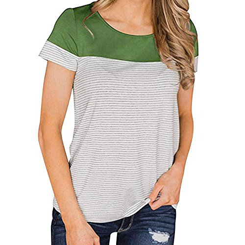 (【MOHOLL】 Womens Short Sleeve Round Neck Color Block Striped T-Shirt Casual Blouse Tops Green)