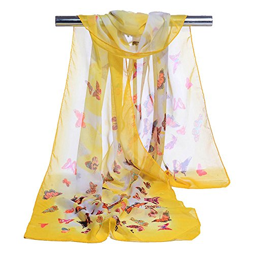 Women's Travel Scarves Chiffon Colorful Butterfly Printing Warm Soft Beach Wraps, 5 pcs, 16050cm , yellow , one - Official Shop Kors Michael