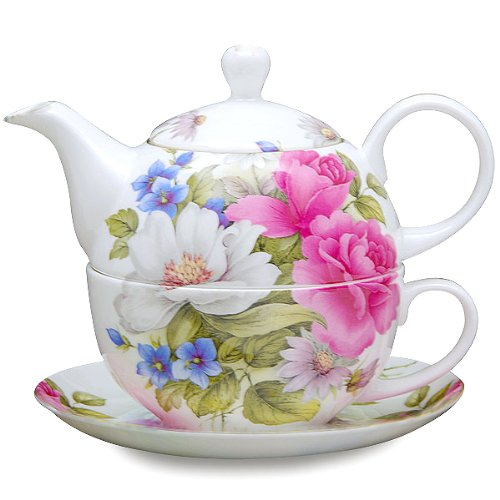 (Gracie Bone China 4-Piece Tea For One Stacked 9-Ounce, Pink Grace's Rose)