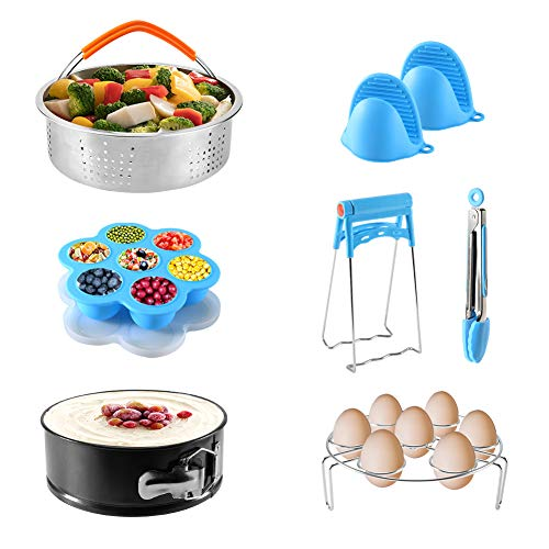 Delicacy Instant Pot Accessories Set Compatible with 5,6,8Qt - 7 PCS Pressure Cooker Accessories with Steamer Baskets,Non-stick Springform Pan,Egg Rack,Egg Bites Mold,Kitchen Tong, Dish Clip,Oven Mitt
