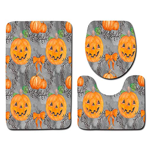 Halloween Decor Sale KIKOY Ghost Spider Toilet Seat Cover and Rug Bathroom Set 3Pcs -
