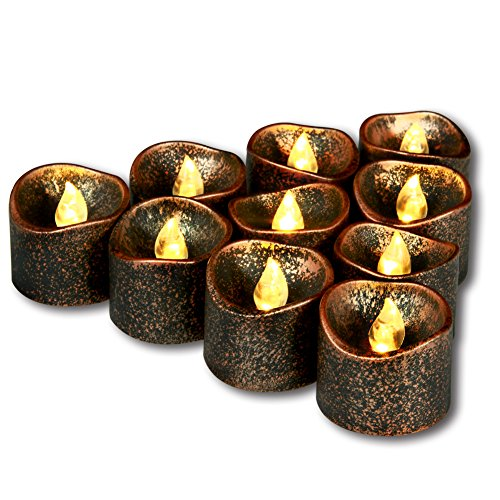 Homemory 12 Pack LED Flameless Black Tea Lights, Vintage Battery Operated Flickering Tealights Candles in Warm White Light for Halloween, Thanksgiving, Wedding, (Tealight Cover)