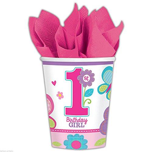 Amscan Sweet Birthday Girl 1st Birthday Purple Cups, 9 oz, Pink/Purple