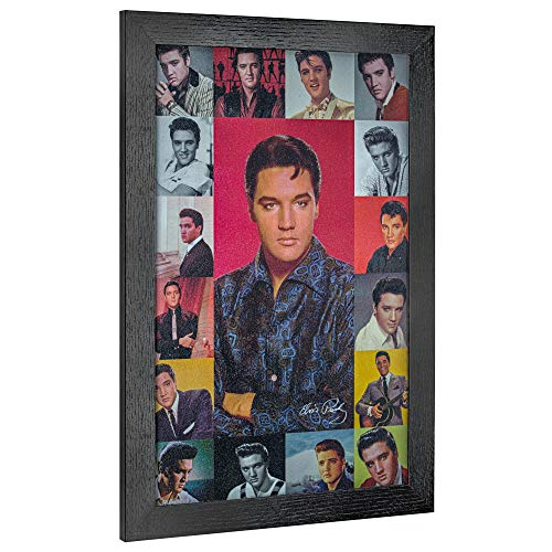Crystal Art Licensed Vintage Elvis Presley Photo Collage Framed Wall Art 19