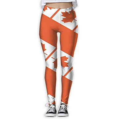 722dc7c5d91bbc Go KJ Canada Maple Pattern Printed Yoga Pants Stretchy Workout Soft Workout  Gym Leggings Tights Elastic at Amazon Women's Clothing store: