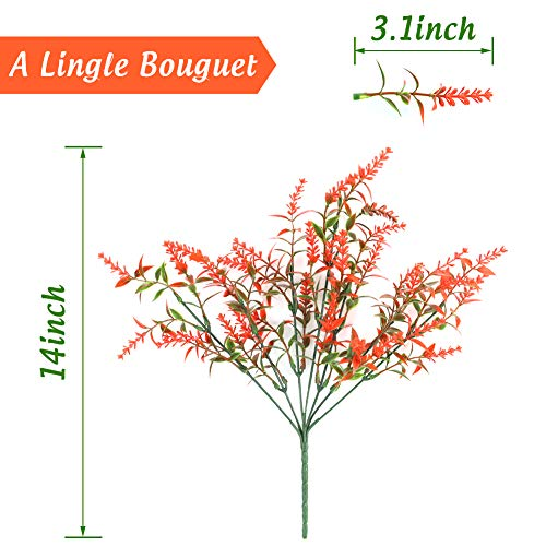 BigOtters Artificial Lavender Flowers, 8 Bundles Orange Red Fake Flowers UV Resistant No Fade Faux Plastic Bouquet Plants Fall Decor for Home Wedding Garden Porch Window Box Decor Autumn Decor