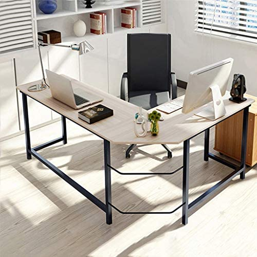 Ywoow Home Office Corner Desk Computer Table Steel Wood Study Office Desk Workstation US Warehouse Sending