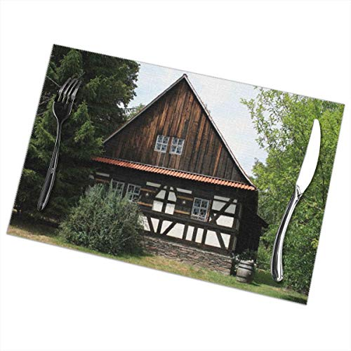 Greatmindo Placemats For Dining Table Set Of 6 Farmhouse Truss Fachwerkhaus House Farm Rustic12x18 In Table Mats Placemat Non-Slip Washable Place Mats Heat Resistant Kitchen Tablemats For Dining Table