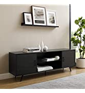Walker Edison Englewood Mid Century Modern 2 Door Glass Shelf TV Stand for TVs up to 80 Inches, 7...