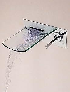 plxg (TM) cascada grifo de baño contemporáneo latón cromado montado en la pared