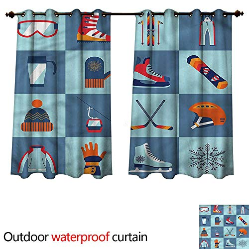(cobeDecor Sports Outdoor Balcony Privacy Curtain Winter Sports Skiing Boot W72 x L72(183cm x 183cm))