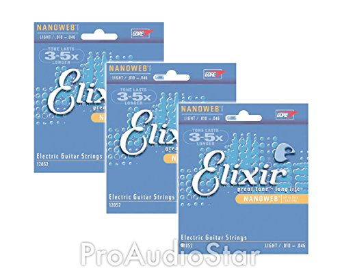 Elixir Strings 12052 Nanoweb Electric Guitar Strings .010-.046 (3-pack) (Elixir Electric Guitar Strings 10)