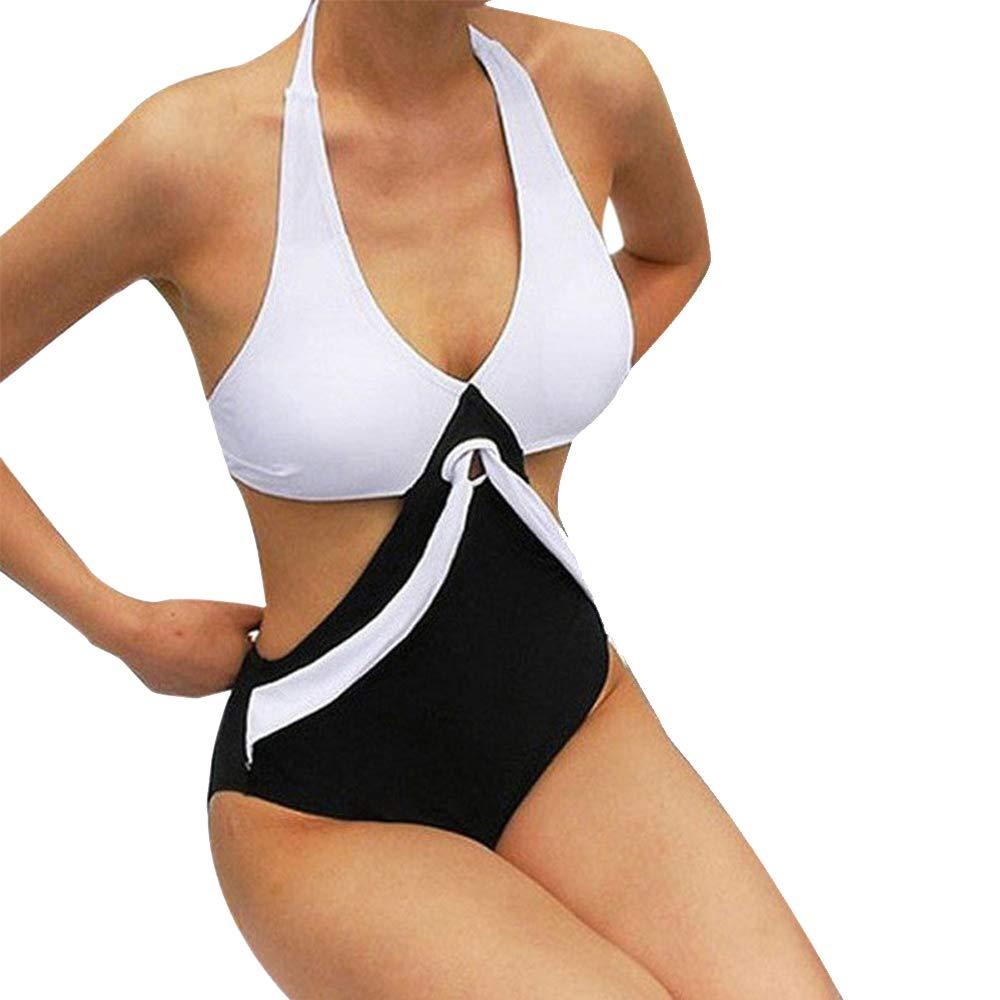 GzxtLTX Women's One Piece Swimwear V Neck Ties Halter Backless Monokini Bikini Swimsuit Bathing Suits Black