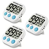 Small Digital Kitchen Timer for Cooking Baking Loud Alarm Countdown Up Magnet Backing Large Display Big Digits for Seniors Kids Indoor Outdoor Use White 3 Pack
