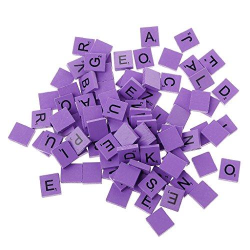 Zeaya 100Pcs/Set Wooden Colourful Scrabble Tiles Mix Letters Varnished Alphabet Scrabbles -