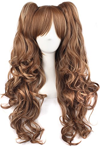 MapofBeauty Multi-color Lolita Long Curly Clip on Ponytails Cosplay Wig (Brown/ Khaki) (Brown Ponytail Wig)