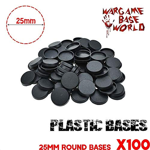 (Mercury_Group,Round Rectangle Oval Square Gaming Base,_25mm Round Plastic Bases for Gaming Miniatures and Table Games 100pcs )