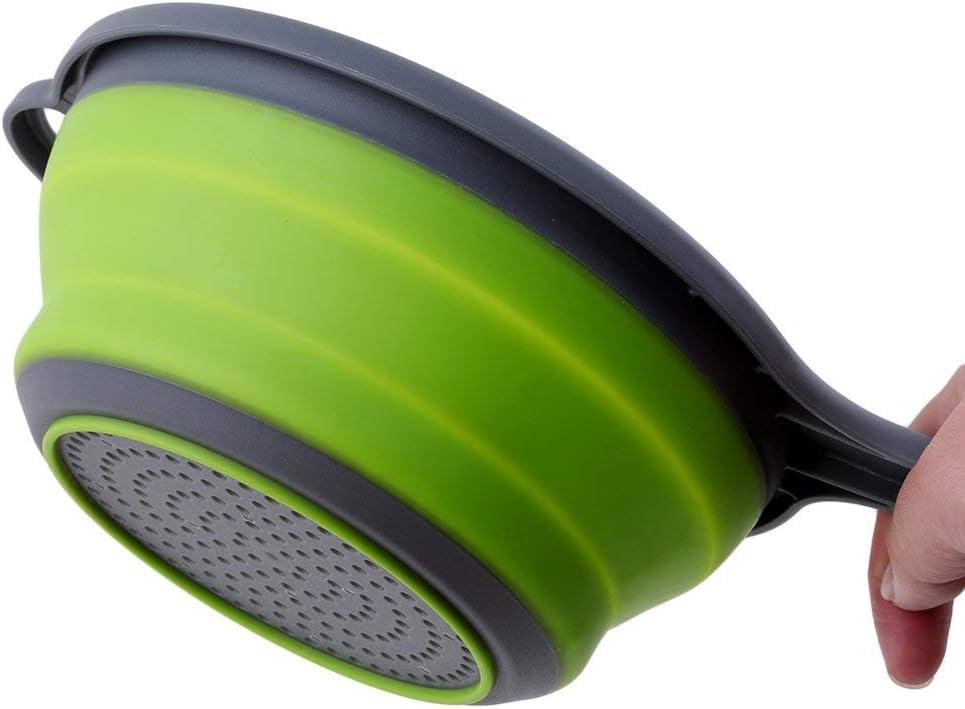20cm KDSANSO Scolapasta in Silicone Pieghevole con Manico Cucina Cestello Filtrante per Il Lavaggio di Frutta e Verdura,Verde,34.5