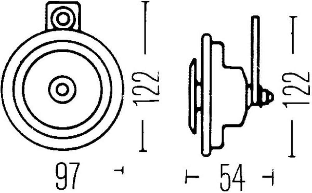 Hella 002952811 HORN DISC 12V 400HZ HTONE MB Horn M26