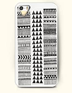 OOFIT Aztec Indian Chevron Zigzag Native American Pattern Hard Case for Apple iPhone 5 5S ( iPhone 5C Excluded ) Black And White Tribal Triangles