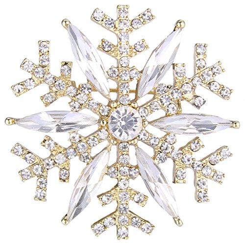 (EVER FAITH Gold-Tone Austrian Crystal Winter Art Deco Snowflake Flower Brooch Pin)