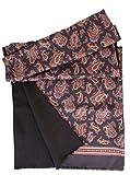Elizabetta Men's Italian Silk Scarf - Black Paisley Print - Soft Wool Lined