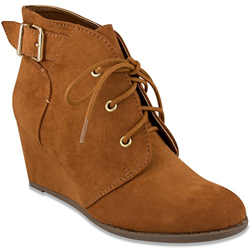 Rampage Womens MAIDEN Lace Up Wedge Bootie Ankle Boot