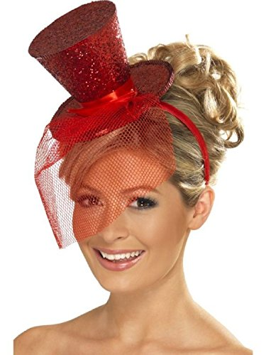 OvedcRay Black Red Pink Sexy Ringmaster Showgirls Burlesque Costume Glitter Mini Top Hat]()