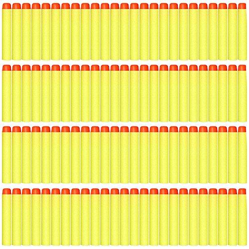 AMOSTING 100 PCS Foam Darts Universal Standard Refill Soft 2.84in (7.2cm) Round Head Bullet Pack for Most Nerf N-strike Elite etc Series Blasters Toy Hand Gun - Yellow