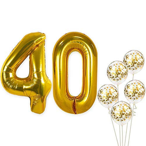 KatchOn Number 40 and Gold Confetti Balloons - Large, 40 Inch Foiil Gold Balloons | 5 Gold Confetti Balloons, 12 Inch | 40th Birthday Party Decorations | Party Supplies for Anniversary Décor