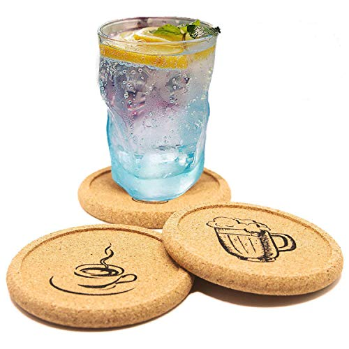 (Coasters Set of 12 Cork Tray Coaster for Drinks with Funny Picture - Desktop Protection Prevent Furniture Damage - Durable Prevent Spills Tabletop Drink Coasters)