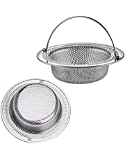 Puikos 2 PCS Upgraded Kitchen Sink Strainer 304 Stainless Steel, Sink Drain Strainer with Handle, Encrypted Mesh Sink Strainer Prevent Clogging, Rust Free & Dishwasher Safe (4.5 inch)