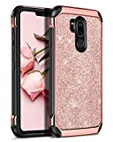 BENTOBEN Case for LG G7 ThinQ, Case for LG G7, Heavy Duty 2 in 1 Hybrid Hard PC Soft TPU Laminated Shiny Faux Leather Chrome Shockproof Cover Protective Phone Case for LG G7/LG G7 ThinQ, Rose Gold